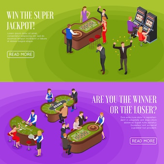 Casino 2 horizontal isométrico verde púrpura pancartas con ruleta ganadores del premio mayor perdedores