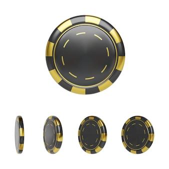 Casino chip en colores negro y dorado. fichas de póquer de render 3d realista. juegos de azar de plástico aislado sobre fondo blanco. ilustración vectorial