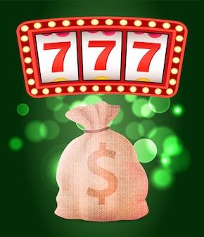 Casino club, máquina tragamonedas o de frutas y bolsa de dinero