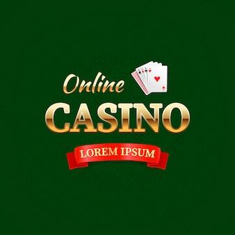 Casino: concepto de logotipo, diseño de tipografía de casino en línea, tarjetas de juego con el texto dorado en verde oscuro