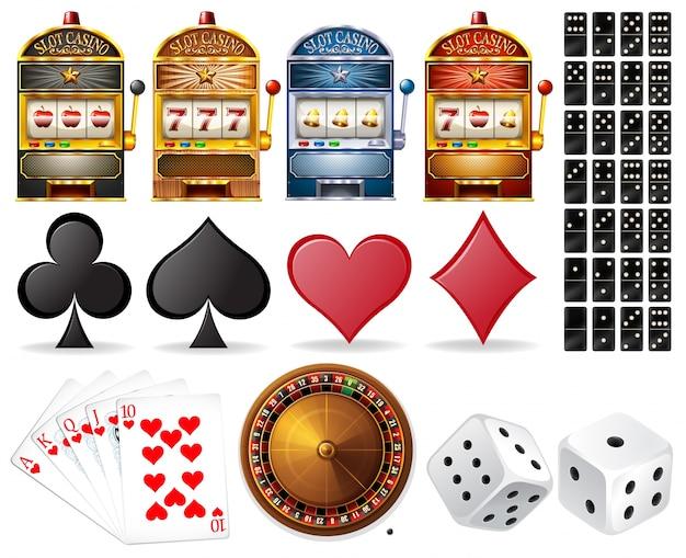 Casino conjunto con tarjetas y juegos ilustración