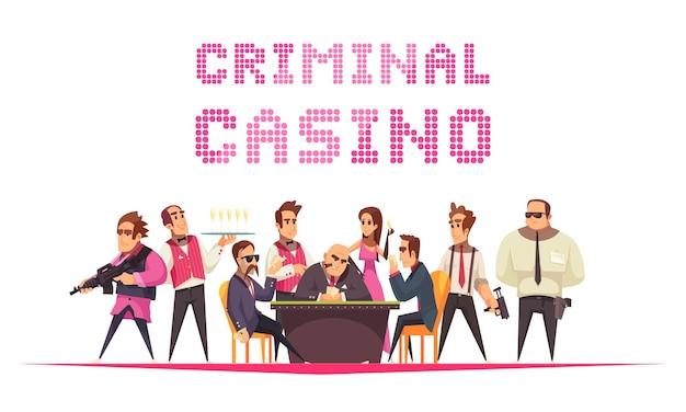 Casino del crimen con personajes humanos de texto y estilo de dibujos animados con miembros de la mafia pandilla