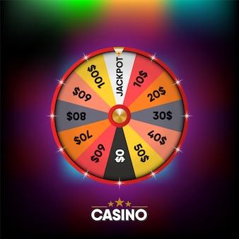 Casino gambling banner fondo 3d realista, colorido de la ruleta en línea gamble letrero gráfico.