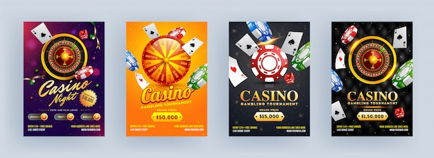 Casino gambling tournament y casino night template o flyer design en diferentes antecedentes.
