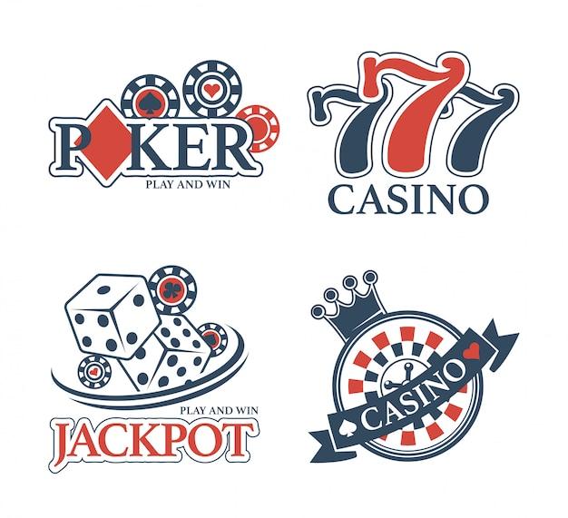 Casino jackpot y club de póquer aislados emblemas promocionales establecidos