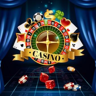 Casino juegos nocturnos símbolos composición póster