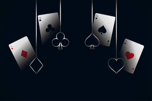 Casino jugando a las cartas con fondo de símbolos