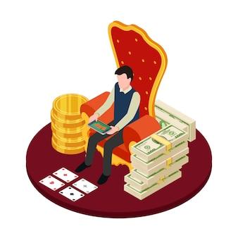Casino en línea con billetes, monedas y hombre con tableta isométrica ilustración