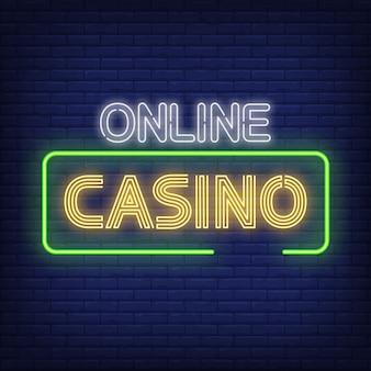 Casino en línea neón texto en marco