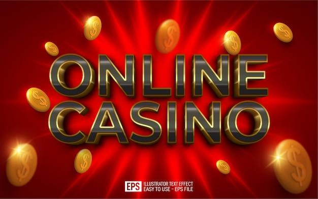 Casino en línea de texto 3d creativo, plantilla de efecto de estilo editable