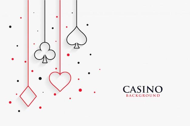 Casino naipes línea símbolos fondo blanco.