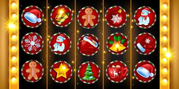 Casino navidad 5 carretes tragamonedas juego de iconos vector máquina de juego navidad vacaciones fondo de invierno