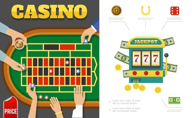Casino plano y composición de juego con jugadores alrededor de la mesa de póker máquina tragamonedas ruleta dados de herradura fichas dinero