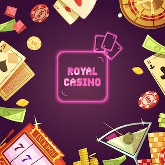 Casino real con ilustración de máquina tragamonedas