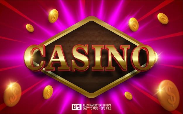 Casino de texto creativo 3d, plantilla de efecto de estilo editable