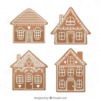 Casitas  de jengibre simples de color marrón