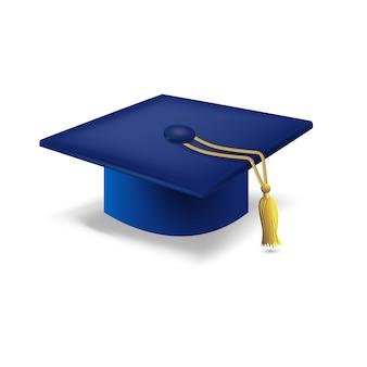 Casquillo azul de la graduación