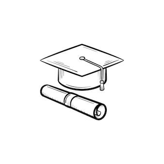 Casquillo del icono de doodle de contorno dibujado de mano de grado graduado y certificado. icono de esbozo de vector de gorro de graduación y certificado de grado para impresión, web, móvil e infografía aislado sobre fondo blanco.