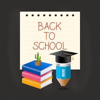 Casquillo, lápiz, libro y cactus de la graduación sobre nota de papel con de nuevo a la fraseología de la escuela.