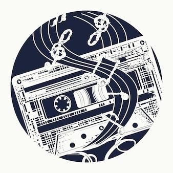 Cassette de audio y notas musicales