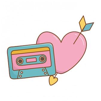 Cassette y corazón con flecha