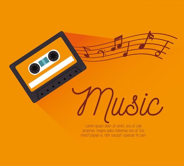 Cassette con plantilla de notas musicales