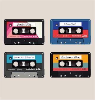 Cassettes de audio coloridos antiguos