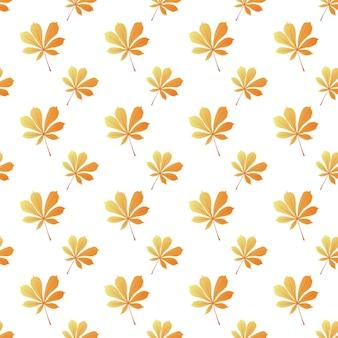 Castaño de indias hojas de patrones sin fisuras. fondo de otoño.