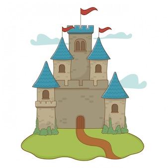 Castillo aislado con banderines diseño ilustración vectorial