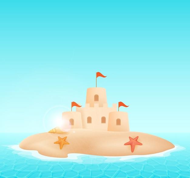 Castillo de arena en la ilustración de vector de playa.