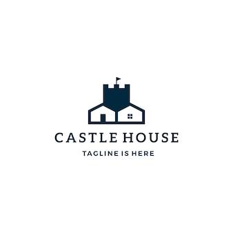 Castillo casa inmobiliaria vector logo icono plantilla