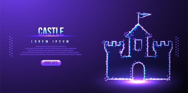 Castillo, construcción de malla de estructura metálica de baja poli de diseño poligonal
