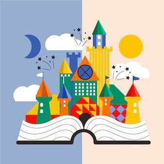 Castillo creativo de cuento de hadas en un libro