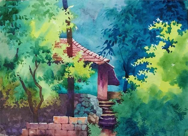 Castillo de cuento de hadas de acuarela en el bosque dibujado a mano ilustración