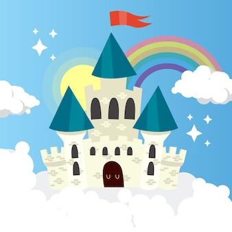 Castillo de cuento de hadas con arcoiris y nubes