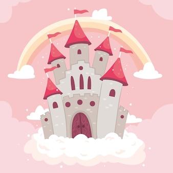 Castillo de cuento de hadas con arcoiris