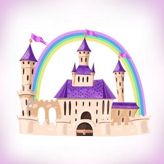 Castillo de cuento de hadas. castillo de dibujos animados palacio de cuento de hadas de fantasía con arco iris. ilustración.