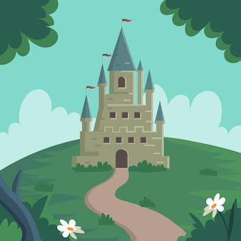 Castillo de cuento de hadas en concepto de colina