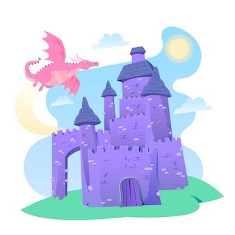 Castillo de cuento de hadas con concepto de dragón