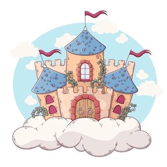 Castillo de cuento de hadas de diseño plano