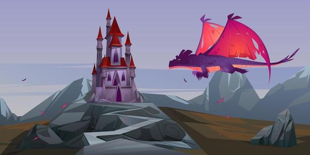 Castillo de cuento de hadas y dragón volador con alas rojas en el valle de la montaña yermo