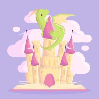 Castillo de cuento de hadas con dragón
