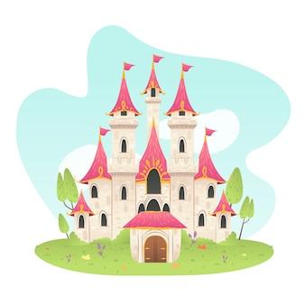 Castillo de cuento de hadas estilo dibujado a mano