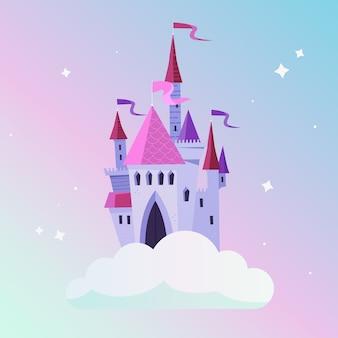 Castillo de cuento de hadas femenino en la nube