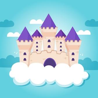 Castillo de cuento de hadas en la ilustración de las nubes