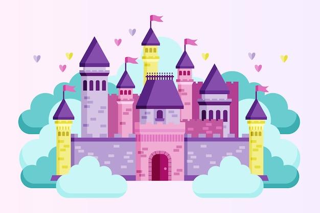 Castillo de cuento de hadas ilustrado