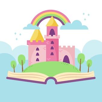 Castillo de cuento de hadas en libro con ilustración de arco iris
