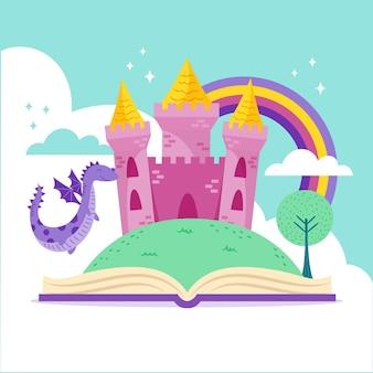 Castillo de cuento de hadas en libro con ilustración de dragón