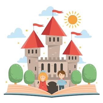 Castillo de cuento de hadas con libro