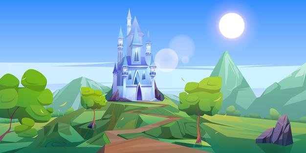 Castillo de cuento de hadas en las montañas. paisaje de dibujos animados de vector del reino de cuento de hadas con rocas